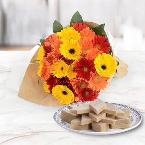 Exclusive Mixed Gerberas Arrangement with Kaju Katli