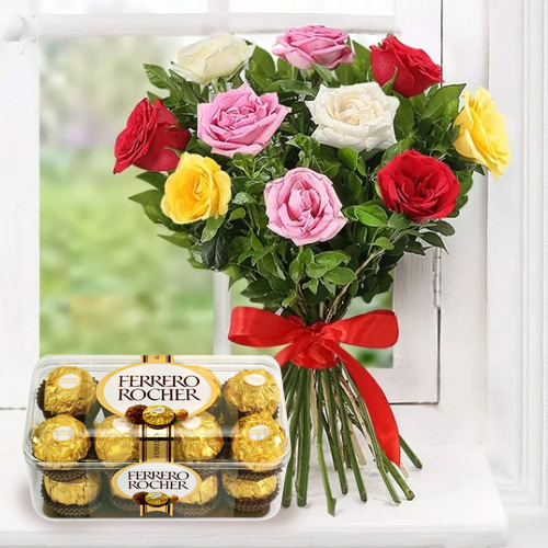 Wonderful Mixed Roses Bunch and Ferrero Rocher Chocolates