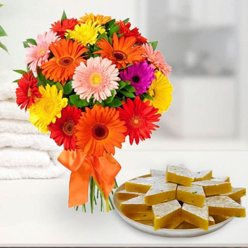 Yummy Kaju Katli and Arrangement of Mixed Gerberas