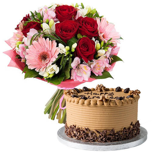 Marvelous Coffee Cake with Mixed Flowers Bouquet