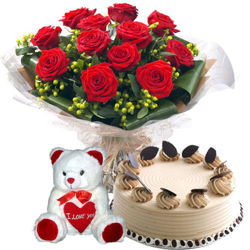 Fresh-Cut Red Roses Bouquet with Coffee Cake N Teddy