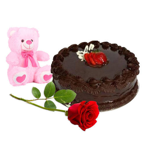 Melt-in-your-Mouth Chocolate Cake with Teddy N Red Rose