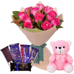 Exclusive Teddy with Pink Roses Bouquet N Mixed Cadbury Chocolates