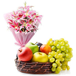 Charming Lilies Bouquet with Fresh Fruits Baskets