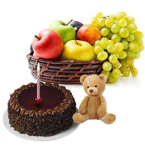 Delicious Chocolate Cake, Small Teddy, Candles and Fruits Basket Gift Combo