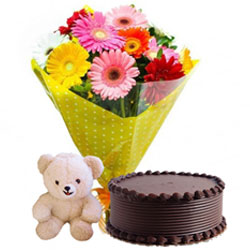 Premium Mid-night Present of Gerberas Bouquet with Small Teddy and Chocolate Cake