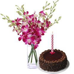 Midnight Delivery of Aromatic Orchids in a Vase with Sweet Chocolate Cake and Candles