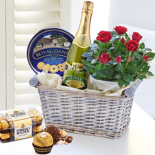 Delicious Gourmet Gift Basket with Red Rose Bouquet