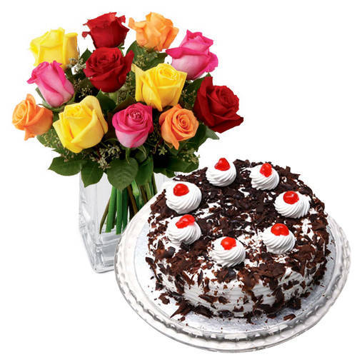 Black Forest Cake with Colorful Roses