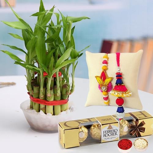 Delicious Ferrero Rocher Chocolate with Lucky Bamboo Plant n Bhaiya Bhabhi Rakhi