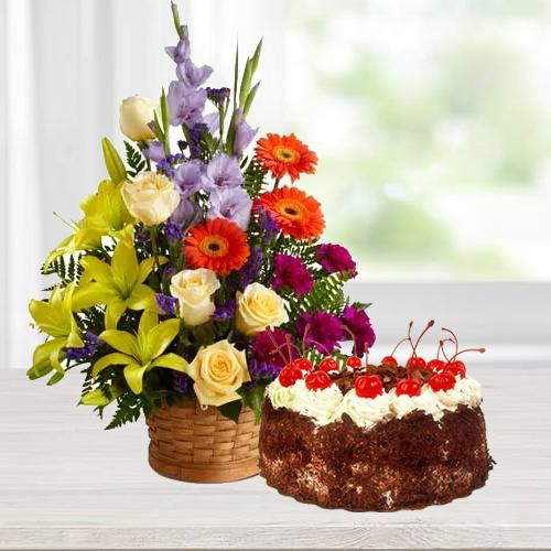 Stunning Seasonal Flowers with Black Forest Cake