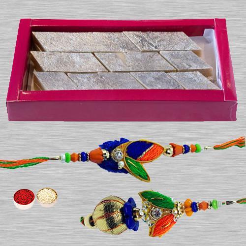 Kaju Katli n Rakhi Set for Bhaiya Bhabhi