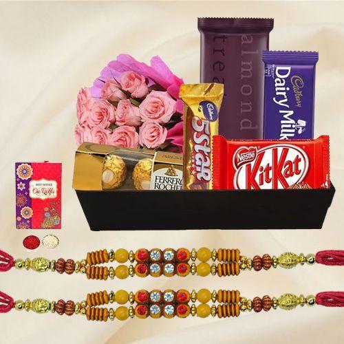 Assorted Chocolates with 2 Designer Rakhi