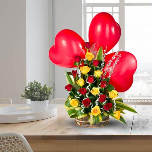 Spectacular Red Heart Shaped Balloons with Colorful Roses