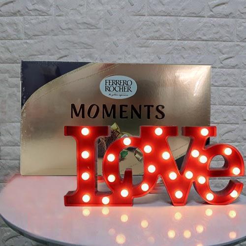Delightful V-day Gift of LOVE Lamp with Ferrero Rocher for Husband