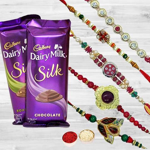 Alluring Rakhi Set with 2 pcs Cadbury Dairy Milk Silk