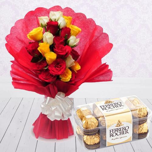 Exquisite Rose Arrangement with Ferrero Rocher