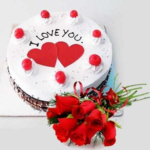 Dazzling Propose Day Gift of Black Forest Cake with Red Roses Bunch