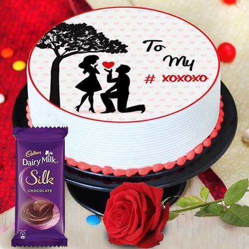Treasured Personalized Photo Cake with Red Rose N Cadbury Silk