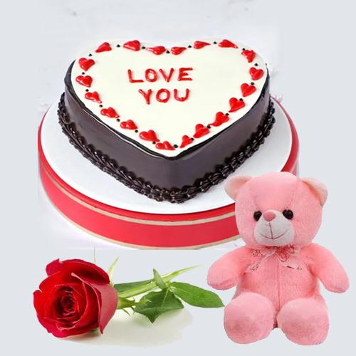 Sumptuous Heart Shape Chocolate Cake with Single Red Rose N Cute Teddy