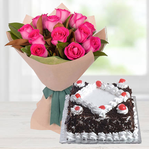 Pink Roses N Black Forest Cake Combo