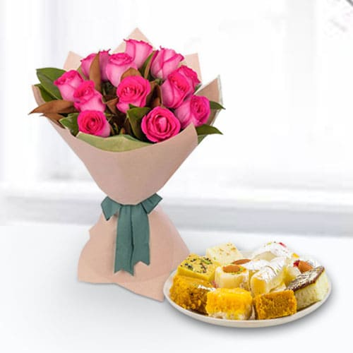 Pink Roses N Assorted Sweets Combo