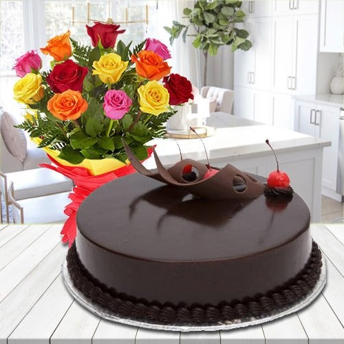 Dozen of glorious Roses with yummy Chocolate Cake