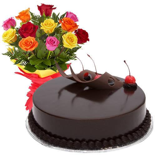 Gift of Assorted Roses N Choco Cake