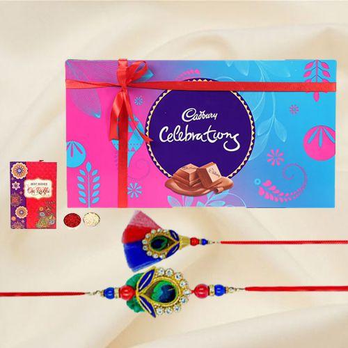 Remarkable Gift Pack of Cadbury Celebration with Bhaiya Bhabhi Rakhi, Roli Tilak and Chawal on the Occasion of Raksha Bandhan