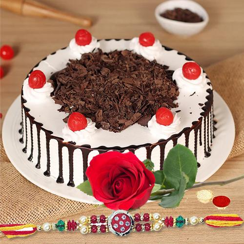 Tasty Black Forest Cake and 1 Fresh Red Rose with Free Rakhi Roli Tilak and Chawal for your Beloved Ones