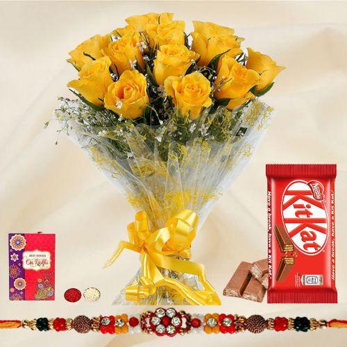 Wonderful Rakhi Selection Gift of Yellow Rose Bouquet and Kitkat Chocolate Pack with Rakhi Roli Tika and Chawal