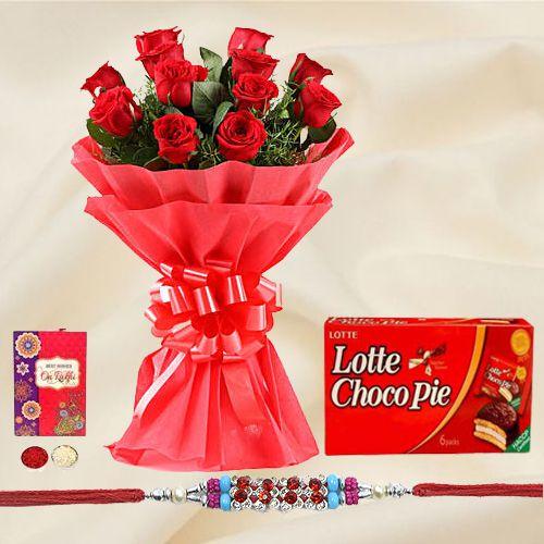 Classy Rakhi Special 12 Red Roses Bunch and Choco Pie Box with Rakhi for Raksha Bandhan Celebration