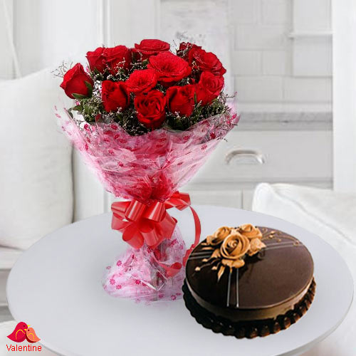 12 Exclusive Dutch Red Roses  with 5 Star Bakery Cake 1 Kg from 5 star Hotel Bakery (Limited Cities)