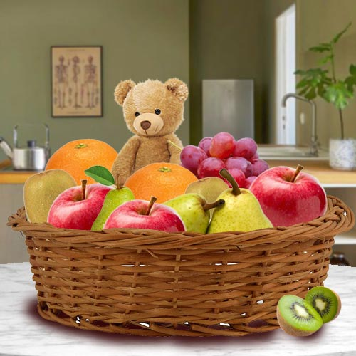 Delectable Basket of Fresh Fruits and Teddy