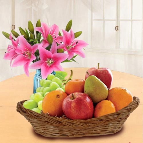 Marvellous Fresh Fruits Basket with Pink Lilies