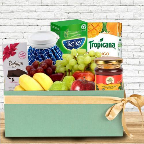 Enticing Box of Fresh Fruits N Assortments