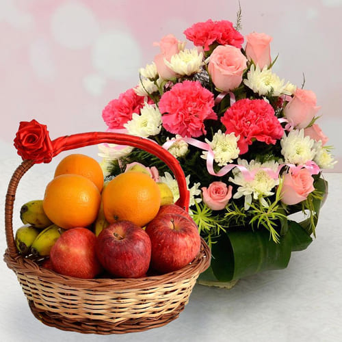Deluxe Fresh Fruits with Mixed Flowers Basket