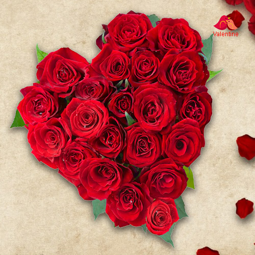 Exclusive Dutch Red Roses  in  Heart Shaped Arrangement