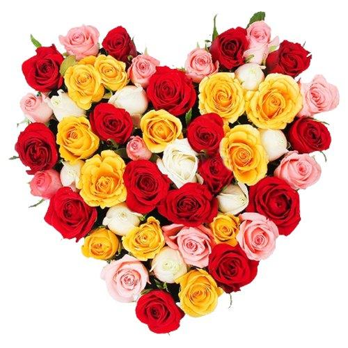 Colorful Heart Shape Arrangement of Roses