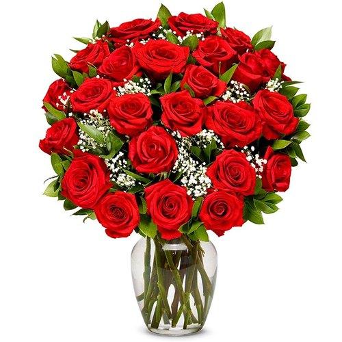 Wonderful Dark Red Roses in a Vase