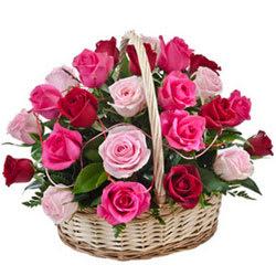 Elegant Pink N Red Roses Basket