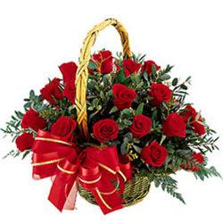 Joyful Basket Arrangement of Roses in Red Colour