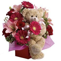 Marvelous Mixed Flowers Arrangement N Teddy