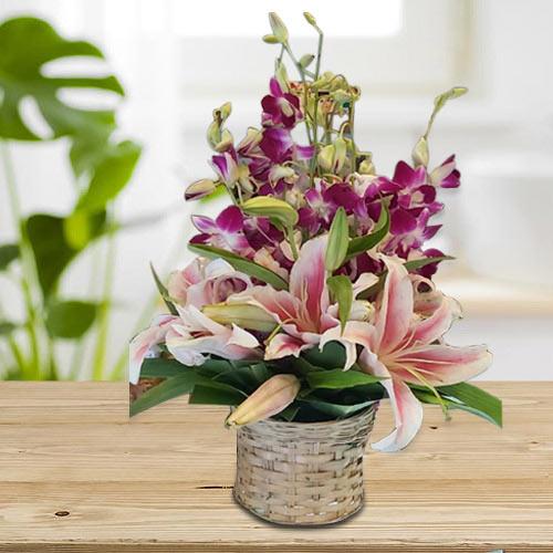 Stunning Pink Oriental Lilies n Purple Orchids Arrangement