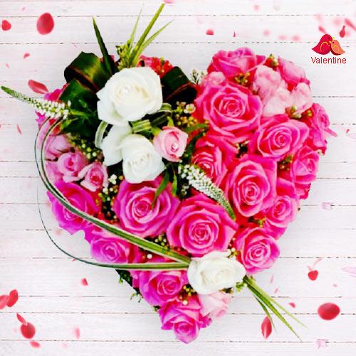 Eye-Catching Heart Shape Rose Arrangement