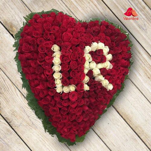 Alphabet Series: 100 Red Roses Heart Arrangement