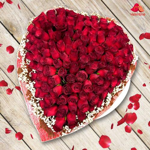 Outstanding Heart Shape Arrangement of 100 Red Roses