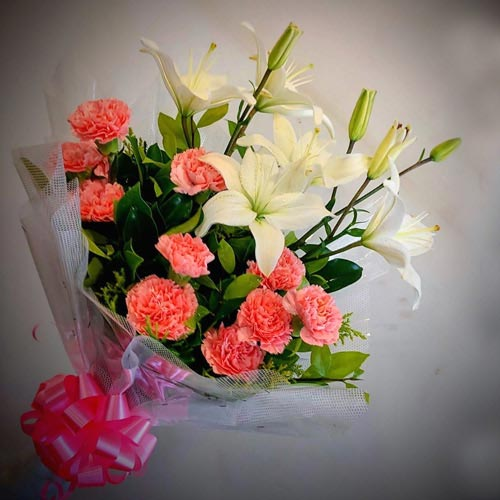 Wonderful Bouquet of White Lilies N Pink Carnations