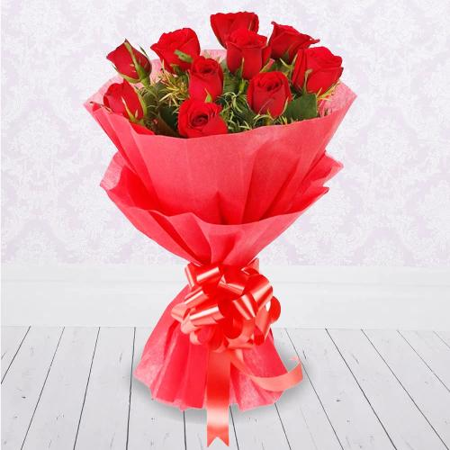 Expressive Red Roses Hand Bouquet with Tissue Wrapped