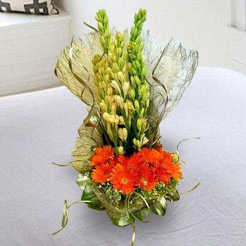 Artistic White Tuberose n Orange Gerberas Arrangement